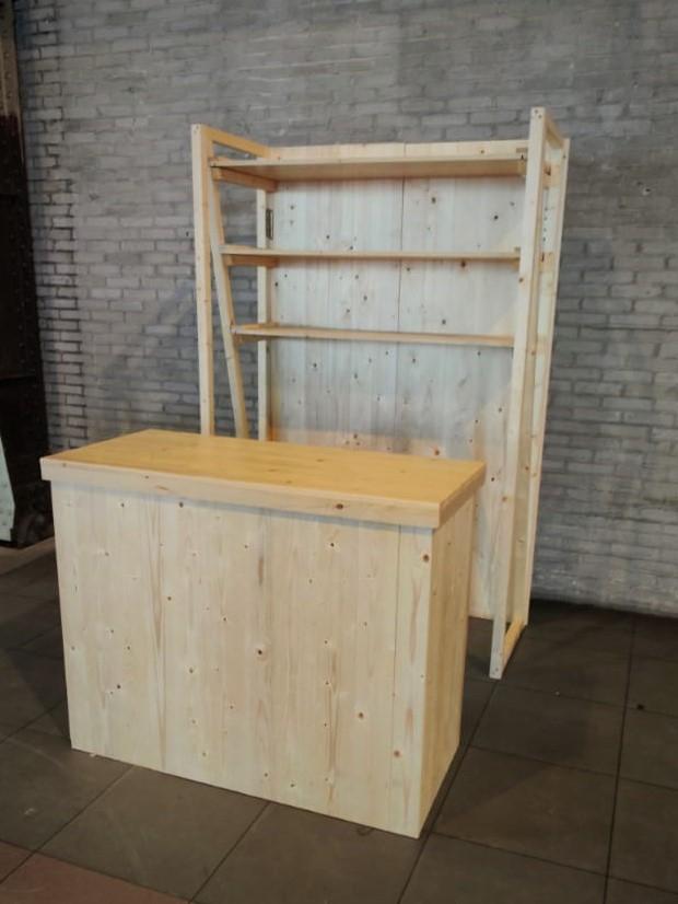 Balie 135 x 70 cm + achterkast 135 x 200 cm ( houtkleur en wit verkrijgbaar)