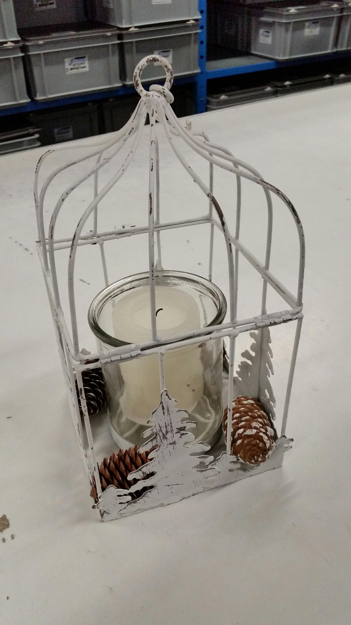 Windlicht met kerstdecoratie