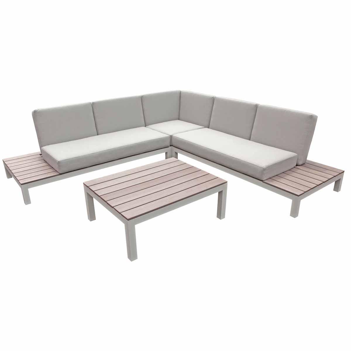 Lounge set 1 x hoekbank + tafel + kussens