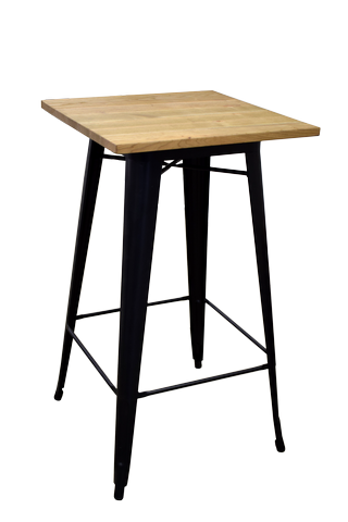 Statafel Wagon 60x60x110 cm ( houten blad)