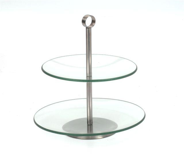Etagiere glas groot 2 laags
