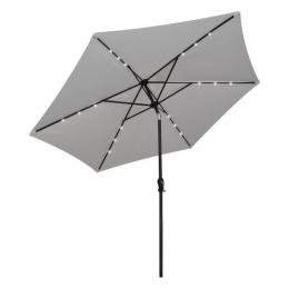 Parasol 300 cm rond met ingebouwde LED verlichting + inklapbare parasolvoet