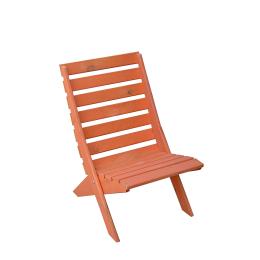 Strandstoel oranje hout (beperkte voorraad)