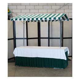 Marktkraam Buffet 200 x 80 cm. Groen rok/tafelkleed ( binnengebruik)