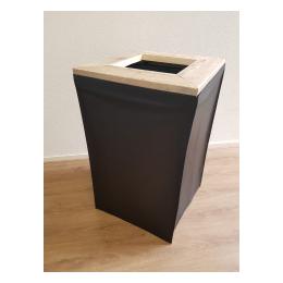 Afvalbak/Kliko 120 liter met steigerhout rand en zwart doek