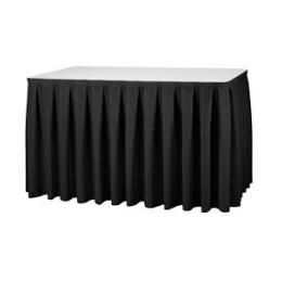 Partytafel de  183 x 76 cm + zwart rok en wit kleed