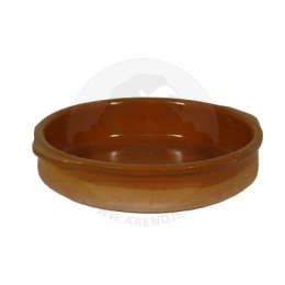 Tapas schaaltje aardewerk bruin 15 x 3 cm